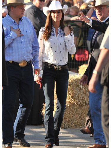<p>For the final leg of the Canada tour the Duke and Duchess of Cambridge hit a rodeo festival in Calgary looking suitably attired. Kate wore an ALICE by Temperley London blouse with bootcut Goldsign jeans (both from Trilogy Stores) with traditional cowboots, hat and belt. Yee-ha!</p>