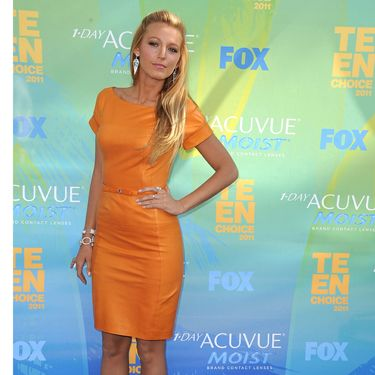 If you were in doubt that orange is a hot hue right now, check this out. Blake pulls her Gucci version off with aplomb combining it with animal print court shoes by Christian Louboutin and lashings of attitude