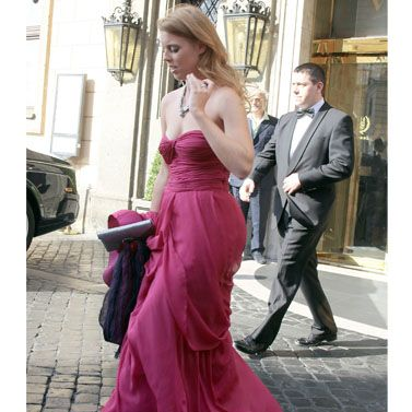 Princess Beatrice has certainly been cracking out some wedding outfit gems recently and this floor-length fuchsia gown by Alberta Ferretti is our fave wedding frock to date. Bea wore the strapless style with some sparkling skyscrapers and matching clutch for Petra Ecclestone's wedding – we just hope she let the bride get at least some attention!