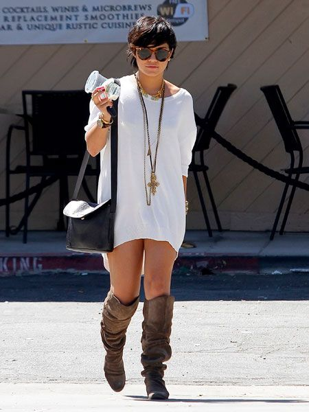 Vanessa Hudgens has been struggling to style her hair after getting it cropped for a new role but we think she looks cute here - a little edgier than usual but still with her boho trademark flair.