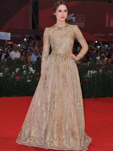 <p>Keira pulled out the stops at the A Dangerous Method premiere in a gold embroidered tulle Valentino Couture gown</p>