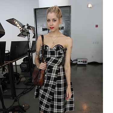 Keeping it all in check: Peaches Geldolf works this strapless number effortlessly