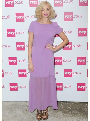 """<p>Fearne Cotton ditched the pink hair for this pink dress at her <a href=""""http://www.very.co.uk/women/fearne-cotton/e/b/1589,4294954879/s/newin,0.end"""">very.co.uk</a> show. Fearne is a big fan of leopard print and couldn't resist adding a hint of the print with these strappy wedges</p>"""