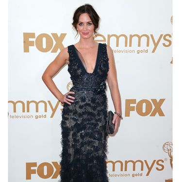 <p>Emily Blunt looked every inch the Hollywood starlet in this beautifully embellished midnight-blue gown from Elie Saab couture. Teamed with a smoky grey clutch and a simple up-do, we think she's a red carpet hit!</p>