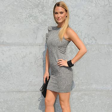 Wow! Some people think grey is dull and boring but model Bar Refaeli proves it most definitely isn't. Here she is at the Emporio Armani Spring/Summer 2012 show and she gets a thumbs up from us!