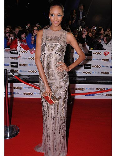We love it when top models come out to play, here we have Jourdan Dunn looking sensational at the MOBOs, wearing the most magnificent nude, sparkly frock, complete with feline eyes and hair in a tight pony tail. Jourdan was by far the best dressed of the night