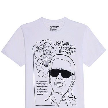 Top of our wish list is the Nyla Boutique Christopher Lee Sauvé t Karl Lagerfeld. These tees are the ultimate in fash pack uniform, especially when teamed with a leather skirt and faux fur coat. Not only is this T-shirt incredibly stylish, there is great humour to it as well – and you know we love a good sense of humour