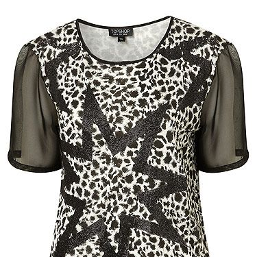 Leopard print is our favourite print! Yes, we know we're pretty fickle, it'll be dalmatian tomorrow! For now though, this tee has gotten us all excited. Having both leopard and star print, not to mention sheer sleeves – it's the ultimate fashion piece!