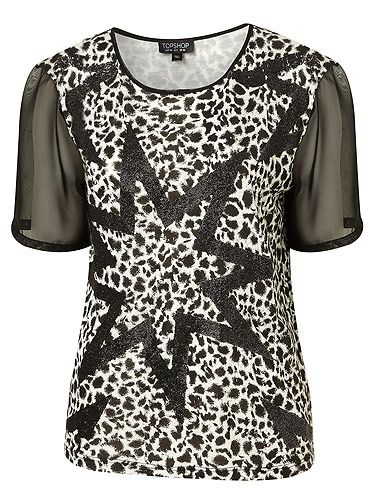 """Leopard print is our favourite print! Yes, we know we're pretty fickle, it'll be dalmatian tomorrow! For now though, this tee has gotten us all excited. Having both leopard and star print, not to mention sheer sleeves – it's the ultimate fashion piece! <p>£32, <a href=""""http://www.topshop.com"""">Topshop</a></p>"""