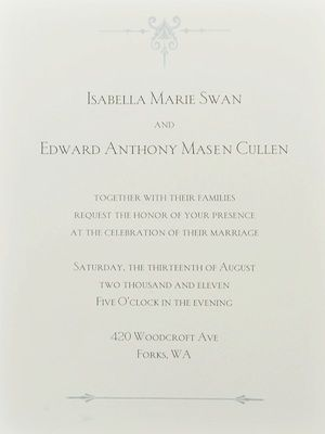 As we all know, there's going to be a wedding in <em>Breaking Dawn</em>, as this fancy looking invite confirms. We can't WAIT to see Miss Swan's wedding dress!