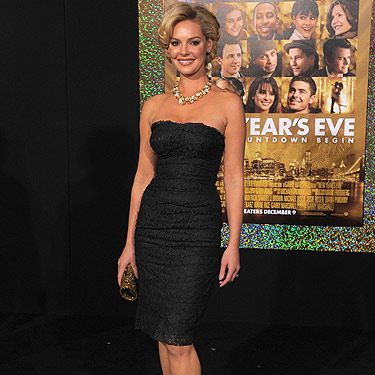 Katherine Heigl showed off her super svelte figure at the Hollywood premiere of New Year's Eve. Voluminous hair and metallic accessories completed her look to perfection