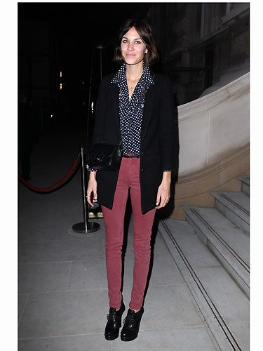 There wouldn't be a fashion list without Alexa Chung on it! This Brit beauty always looks so effortless - whether she's on the red carpet or trekking the streets of London. Polka dots teamed with coloured skinnies make for a chic combination - go Alexa!