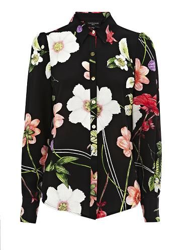 """<p>Say it loud (and proud) in this colourful floral print silk shirt with small gold buttons. Wear with leather, denim or the matching trousers, it's up to you</p>  <p>Blouse, £55, <a href=""""http://www.warehouse.co.uk/luminescent-floral-print-shirt/Tops/warehouse/fcp-product/307786"""" target=""""_blank"""">Warehouse</a></p>"""