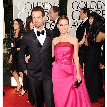 Natalie Portman and her fiance Benjam Millepied attended the Golden Globes in glamorous style - we totally heart Natalie's fuchsia pink Lanvin gown and twinkling Tiffany & Co. jewels - tres chic!