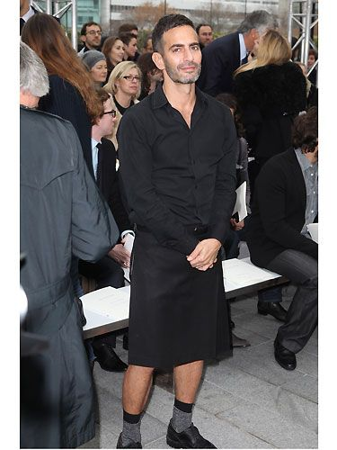 Marc Jacobs is quite possibly the ONLY man who can wear a skirt and still look uber cool. Here he was posing gracefully at the Louis Vuitton menswear show - we can't help but wonder if skirts for dudes will be the next big trend?