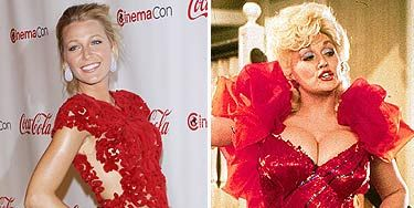 Big blonde hair, check. Red frou-frou dress, check. Ample bosom, check. The similarities between Dolly and Blake may not stretch further than these three things but you never know – could there be a future as a country singer, Blake? We'd like to think that Dolly Parton was the inspiration for the Gossip Girl's look in any case