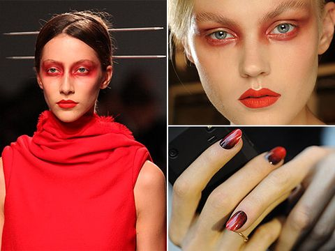 <p>Leave it to MAC makeup expert Alex Box to properly sweep on a red metallic eyeshadow on the models at the Gareth Pugh show. With absolutely no eyeliner or mascara, this was matched with the classic MAC Pro Red Lipmix to make a totally unique twist on the gothic vampy beauty trend.</p> <p>Nail expert Marian Newman swirled MAC nail lacquer in Rougemarie and Shirelle together for an all-around 3D effect that looked like the nails were literally bleeding, in the most fashion-forward and elegant way possible.</p> <p>The show also involved white and black mesh masks tied behind Asian-inspired buns knotted with chopsticks. Now that's real drama for Paris Fashion Week beauty!</p>