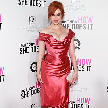 Starring in a film alongside fashionista Sarah Jessica Parker must be tricky but Christina held her own. For the New York premiere of 'I Don't Know How She Does It' she wore a Vivienne Westwood dress teamed with nude Jimmy Choo shoes and a Judith Leiber clutch. The ultimate accessory was those boobies - wow!