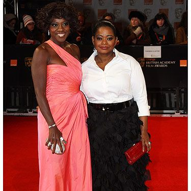 Wow! These ladies have got it going on right now. The Help star Octavia Spencer looked splendid in her Tadashi Shoji ensemble. Viola Davis looked incredible in her long pink Valentino gown. Oh how we wish our arms were as toned as hers - Viola, give us some tips please. Viola completed her look with Bvlgari jewellery - good choice!