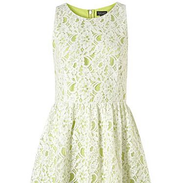 <p>Lace needn't be boring – especially when layered over a contrasting bright colour. Here, zingy lime gets toned down with a white lace overlay – this is the dress that will see you through this season and beyond.</p>