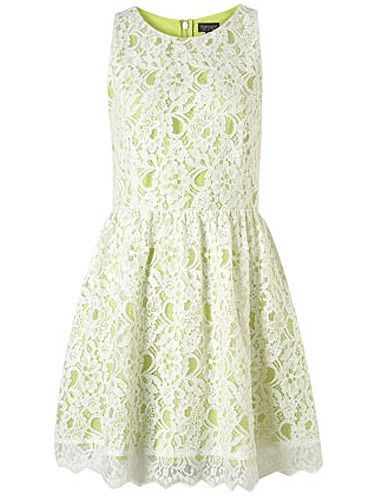 "<p>Lace needn't be boring – especially when layered over a contrasting bright colour. Here, zingy lime gets toned down with a white lace overlay – this is the dress that will see you through this season and beyond.</p> <p>Sleeveless lace dress, £48, <a title=""Topshop"" href=""http://www.topshop.com/webapp/wcs/stores/servlet/ProductDisplay?beginIndex=0&viewAllFlag=&catalogId=33057&storeId=12556&productId=4702932&langId=-1&sort_field=Relevance&categoryId=277012&parent_categoryId=208491&pageSize=200"" target=""_blank"">TOPSHOP </a></p>"