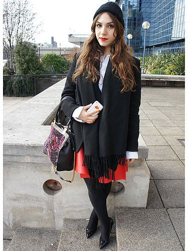 <p>We spotted Chloe's red lips from a mile off - then we spotted her fabulous outfit, we just had to snap her. We love her Kenzo jacket, Acne shirt and YSL skirt - super stylish!</p>