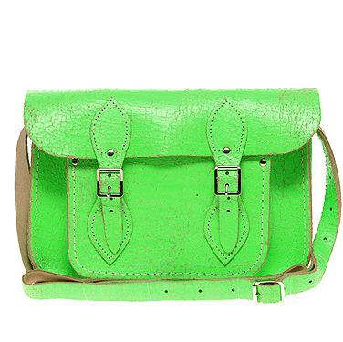 """<p>This is THE bag label of the moment: The Cambridge Satchel Company. Not only did the brand make their début on the catwalk at Basso and Brooke, but the fash pack were all sporting neon versions at London Fashion Week.</p><p>Green Fluro Cracked Leather Satchel by The Cambridge Satchel Company, £100, <a title=""""ASOS"""" href=""""http://www.asos.com/Cambridge-Satchel-Company/Cambridge-Satchel-Company-Exclusive-to-Asos-11-Green-Fluro-Cracked-Leather-Satchel/Prod/pgeproduct.aspx?iid=1799333"""" target=""""_blank"""">Asos.com</a></p>"""