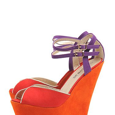 <p>These high-rise wedges are divine&#x3B; a little bit 70s and a whole lot lovely, they also tick off the colour blocking trend a treat. Want, want, WANT!</p>