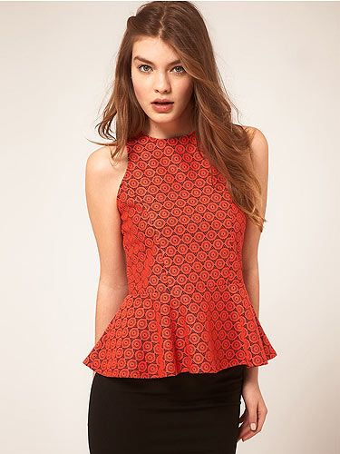 "<p>This top is trend-tastic: bright colour, lace and - of course - a peplum waist. Ideal for taking you from office to hot date, too. A style winner!</p> <p>Floral lace peplum top, £28, <a title=""Asos.com"" href=""http://www.asos.com/ASOS/ASOS-Peplum-Top-In-Floral-Lace/Prod/pgeproduct.aspx?iid=2036947&SearchQuery=peplum&sh=0&pge=0&pgesize=20&sort=1&clr=Orange"" target=""_blank"">ASOS</a></p>"