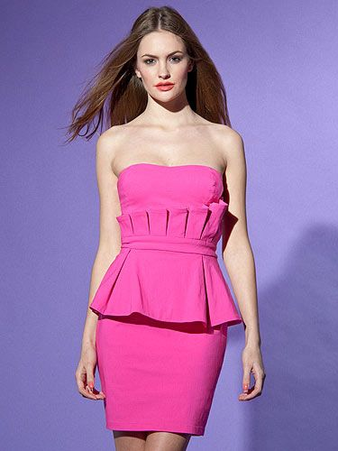 "<p>Pink makes the boys wink - and this dress will make the girls go 'oooh!' We love the hot pink hue and the perfect pleating around the waist. Make the look your own by adding contasting heels and a cute cardi.</p> <p>Bandeau double peplum dress, £60, <a title=""Lispy"" href=""http://www.lipsy.co.uk/store/dresses/lipsy-bandeau-double-peplum-dress/product-is-DR05972_041"" target=""_blank"">Lipsy</a></p> <p> </p>"