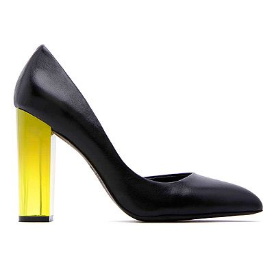 "<p>Werelse for Mango Touch hits selected stores and online on April 15th and we want the lot. Here's a sneaky preview...</p>  <p>Black shoe with yellow heel, £79.99, <a title=""Mango"" href=""http://www.mango.com/"" target=""_blank"">Mango.com</a></p>"