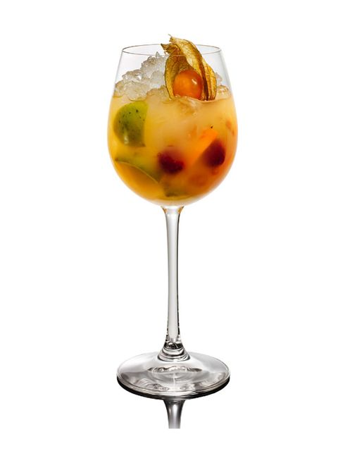 <p>Russian Standard vodka have brought us a delicious, easy recipe for this week's cocktail of the week. Mix it up for your mates and sip a taste of sunshine.</p> <p><br /><strong>Golden Sunshine Cobbler:</strong></p> <p>Add the following ingredients to a large, ice filled, wine glass:</p> <p>• 60ml Russian Standard Gold vodka  <br />• 120ml Sweet white wine<br />• 30ml Bols orange liqueur<br />• ¼ Mandarin <br />• ¼ Blood orange<br />• ¼ Lemon</p> <p>Stir vigorously and garnish with a physalis or a variety of sliced seasonal fruit.</p>
