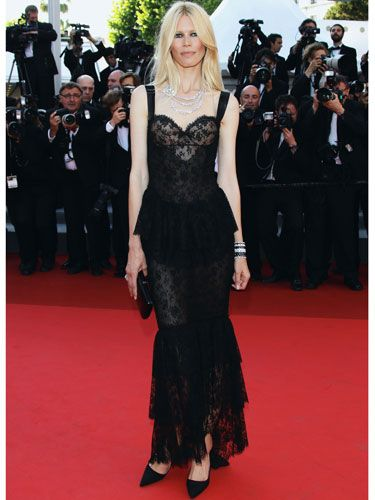 <p>Claudia Schiffer went off-piste with her red carpet look opting for gothic glam in this layered lacy gown by Dolce&Gabbana teamed with oodles of Chanel diamonds glistening around her neck</p>