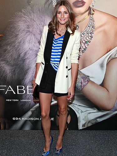 <p>J'adore Olivia Palermo's effortless polished style! She definitely took the humble striped tee (we love a bit of nautical glam) to new heights at the opening of Faberge's flagship store in NYC, teaming it with a chic white blazer and (gasp!) the very same satin blue Manolo Blahnik's that Big proposed to Carrie Bradshaw with in The Sex And The City Movie!</p>