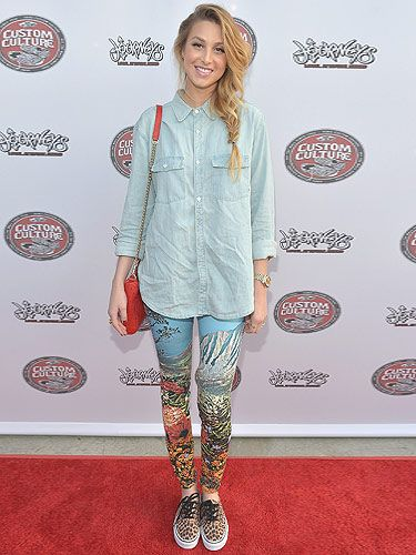 <p>Whitney Port simply blew our minds when she rocked up to the Vans party in THIS awesome ensemble! She was definitely working the beach babe look, teaming an oh-so-lovely fishtail plait with a loose denim shirt and amazing under-the-sea leggings. We can't wait to see more of her kitschy style on Britan And Ireland's Next Top Model!</p>