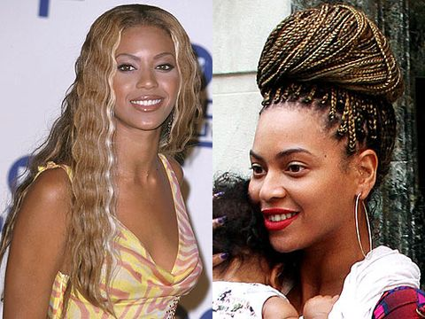 <p><strong>Then:</strong> Everyone thought Beyonce was bootylicious back in the days of Destiny's Child - and she was, there's no doubt about that! But the hair was questionable, it looks like she's been attacked with the crimpers, and we're not convinced with the colour, it's a bit My Little Pony</p> <p><strong>Now:</strong> Ahh that's more like it, we love Beyonce's braids. They remind us of how she wore her hair back in the 90s but it's far more polished - and we're loving the blonde hue</p>