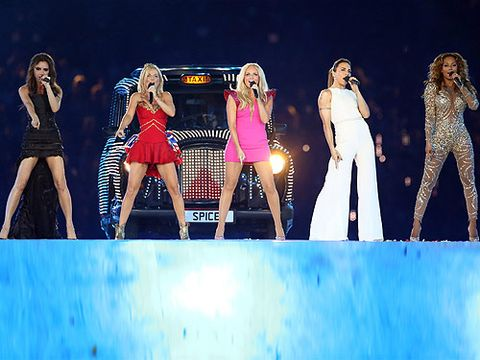 <p>It was the moment we were all waiting for - the Spice Girls reuniting at the Olympic 2012 closing ceremony. The fab five-some looked gorgeous as they took to the stage (and five blinged-up taxi cars) to sing Spice Up Your Life. Victoria, Geri, Emma, Mel C and Mel B have still got it...