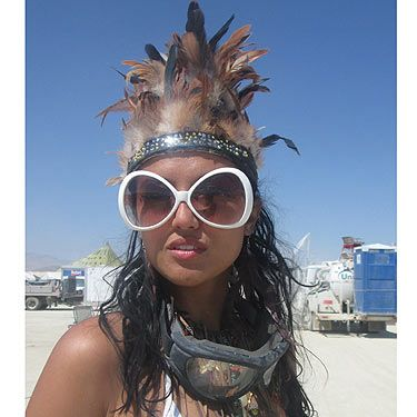 <p>The Burning Man fashion challenge is to get the essentials – goggles, scarf (for sandstorms) and big sunglasses – and still look like a desert queen. The look du jour is leathers, feathers and warrior-goddess gear.</p>