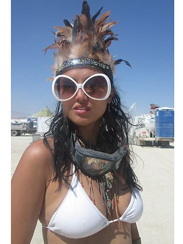 <p>The Burning Man fashion challenge is to get the essentials – goggles, scarf (for sandstorms) and big sunglasses – and still look like a desert queen. The look du jour is leathers, feathers and warrior-goddess gear.</p> <p>Burning Man beauty tip: It can hit 40 Celsius during the day (but freezing at night) so don't leave camp without your SPF or furry jacket if the sun's gone down.</p>