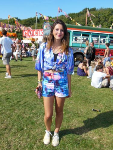 <p> </p> <p>Anne-Sophie, 20</p> <p>We love a girl who mixes up prints. Anne-Sophie hit Bestival in Topshop tie-dye shorts and a kimono top she bought in Japan</p>