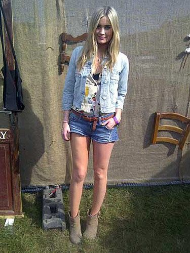 <p> </p> <p>MTV presenter Laura Whitmore looked country girl chic in Aldo ankle boots, denim hotpants and a Replay denim jacket</p>