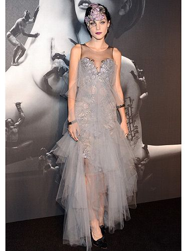 <p>90210 actress Jessica Stam also made an appearance at the Lady Gaga fragrance launch wearing a romantic goth-inspired lace and mesh dress and headpiece. Paired with dark red lipstick she did Gaga proud</p>