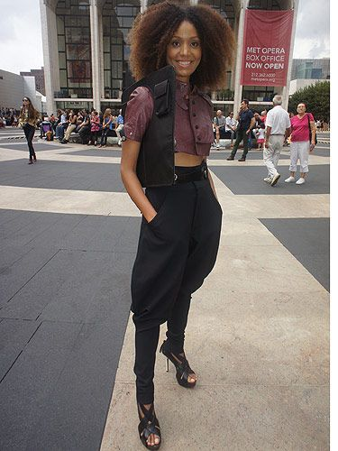 <p><em>Fashion blogger and film maker</em></p> <p>Apart from the fact she has amazing hair, we're also slightly jealous of Ndoema's style. Her Dolce and Gabanna trousers and Diesel really do work well together, along with a bag that sets her style miles apart from the rest</p>