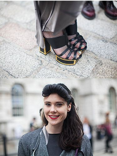 <p><em>Singer</em></p> <p>We caught up with Kate Nash and got a snap of her awesome Felder Felder shoes. We're loving the gold framing on the platform!</p>