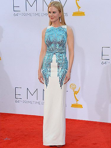 <p>We can never ignore Nicole Kidman's flawless red carpet wardrobe. She attended the 2012 Emmy Awards in an Antonio Berardi white dress with blue embellishments that literally sparkled on every angle. She missed the Emmy this year, but still looked amazing as usual!</p>