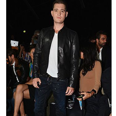 <p>Wow, someone has been working out! Singer Michael Buble showed up at the DSquared2 show looking as trim as the models on the catwalk! He fit in perfectly with the Milan Fashion Week crowd in his cool black leather jacket and jeans. Well done!</p>