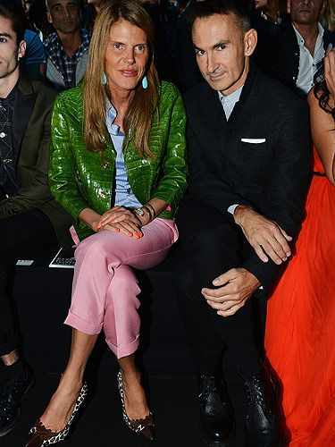 <p>Holy smoke, did you see the pink and green ensemble Anna Dello Russo wore to the DSquared2 show? The fashion star was sat next to Italian designer Neil Barrett on the front row and she had her Milan Fashion Week game face on!</p>