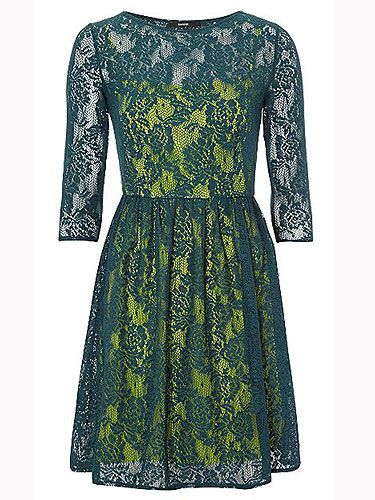 """<p>We love the blast of fluro under the emerald green lace. We also love the price. Clash your colours and wear with bright heels for a fashion forward look.</p> <p>George lace dress, £16, <a href=""""http://direct.asda.com/george/womens/dresses/lace-overlay-formal-dress-green/G004036732,default,pd.html"""">Asda</a></p>"""