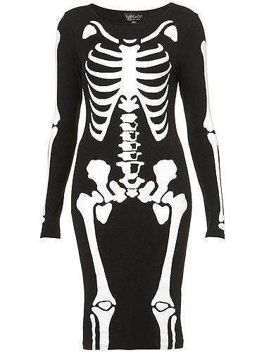 """<p>Ever wished you had X-Ray specs? Now you can! (Sort of). We heart this skeleton dress from Toppers - as spotted on Little Mixer Jesy Nelson recently.</p> <p>Skeleton bodycon dress, £25, <a title=""""Topshop"""" href=""""http://www.topshop.com/webapp/wcs/stores/servlet/ProductDisplay?beginIndex=1&viewAllFlag=&catalogId=33057&storeId=12556&productId=7361180&langId=-1&sort_field=Relevance&categoryId=419991&parent_categoryId=208499&pageSize=200%20"""" target=""""_blank"""">Topshop</a></p>"""
