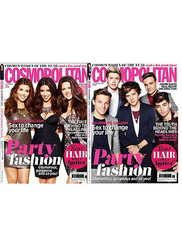 """<p>December is an extra special issue for Cosmopolitan as we don't have just one hot set of cover stars but two! We gathered together the gorgeous Kardashian girls and the hot One Direction boys but which Cosmo cover will you buy? Let us know <a title=""""https://www.google.co.uk/url?sa=t&rct=j&q=&esrc=s&source=web&cd=10&cad=rja&ved=0CHQQFjAJ&url=https%3A%2F%2Ftwitter.com%2FCosmopolitanUK&ei=KoeaUNTpEbKM0wWEmoBA&usg=AFQjCNHp3p-m1mrA82XRJPstkQ4I31rnEg&sig2=eArJ4AvIBqAuM5HqbjcFbg"""" href=""""https://www.google.co.uk/url?sa=t&rct=j&q=&esrc=s&source=web&cd=10&cad=rja&ved=0CHQQFjAJ&url=https%3A%2F%2Ftwitter.com%2FCosmopolitanUK&ei=KoeaUNTpEbKM0wWEmoBA&usg=AFQjCNHp3p-m1mrA82XRJPstkQ4I31rnEg&sig2=eArJ4AvIBqAuM5HqbjcFbg"""" target=""""_blank"""">@CosmopolitanUK</a></p>"""